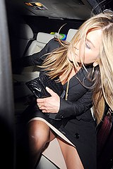 Aniston upskirt in the car